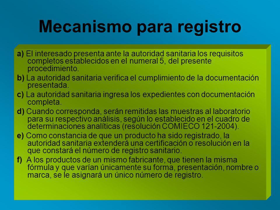 Mecanismo para registro
