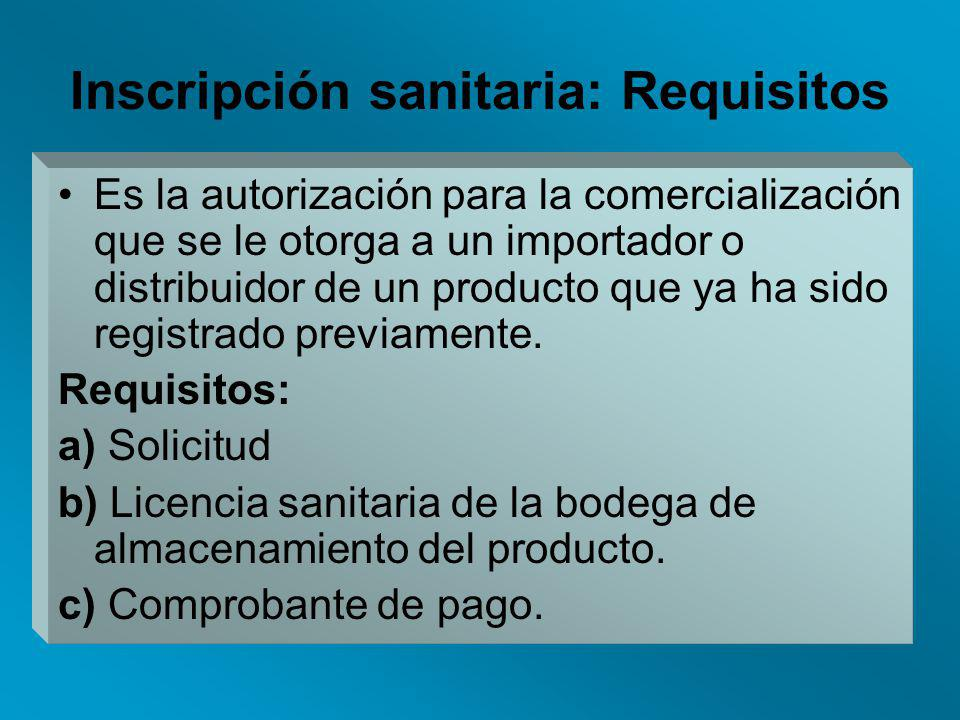 Inscripción sanitaria: Requisitos