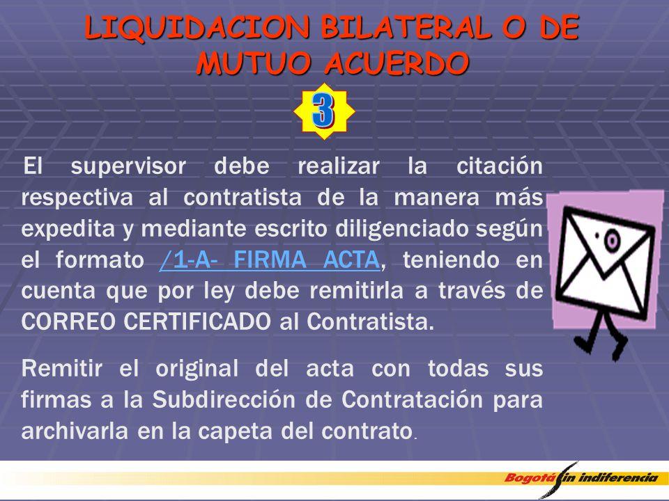 LIQUIDACION BILATERAL O DE MUTUO ACUERDO