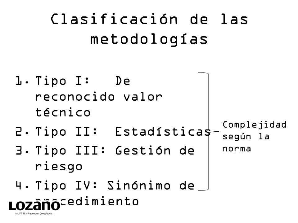 Clasificación de las metodologías