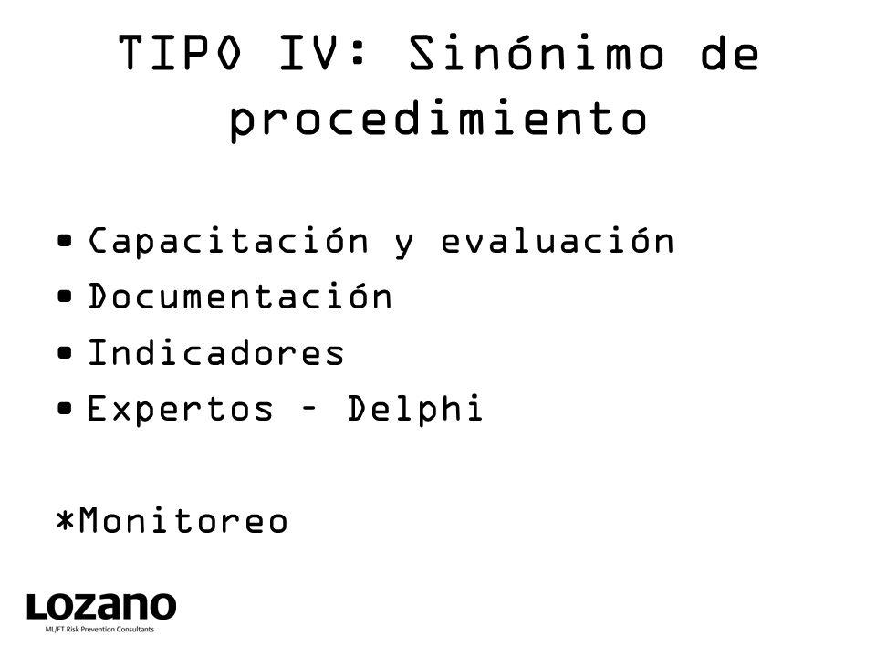 TIPO IV: Sinónimo de procedimiento