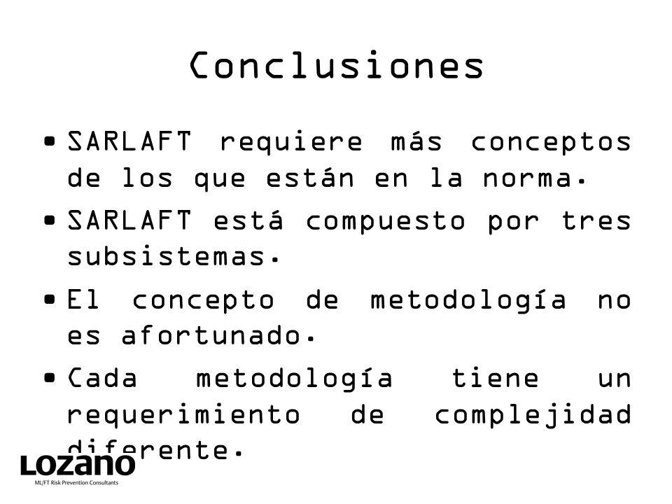 Conclusiones SARLAFT requiere más conceptos de los que están en la norma. SARLAFT está compuesto por tres subsistemas.