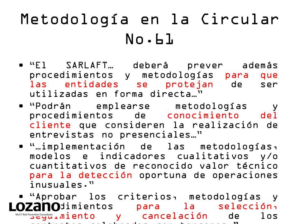 Metodología en la Circular No.61