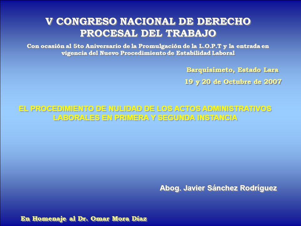 V CONGRESO NACIONAL DE DERECHO PROCESAL DEL TRABAJO