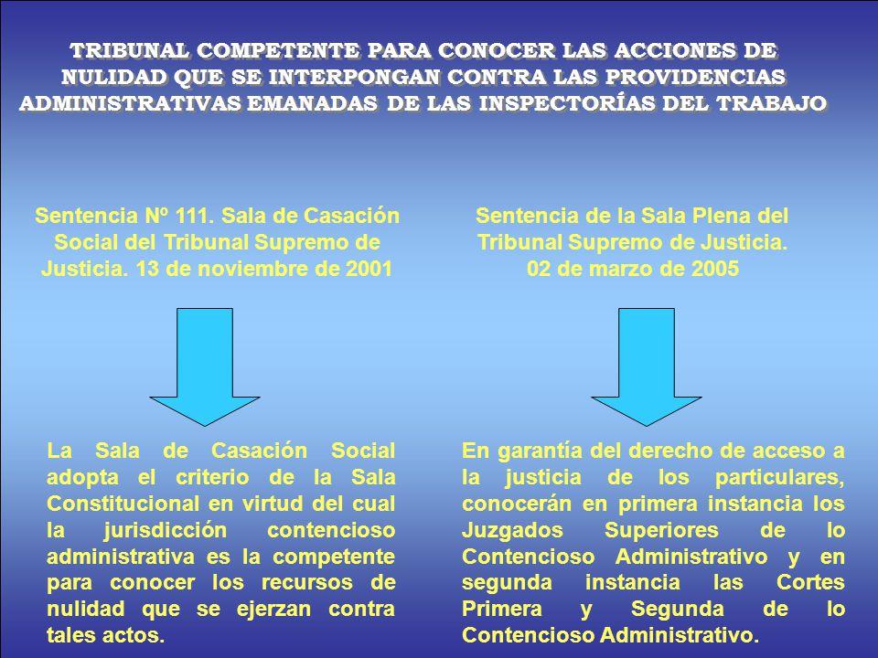 TRIBUNAL COMPETENTE PARA CONOCER LAS ACCIONES DE NULIDAD QUE SE INTERPONGAN CONTRA LAS PROVIDENCIAS ADMINISTRATIVAS EMANADAS DE LAS INSPECTORÍAS DEL TRABAJO