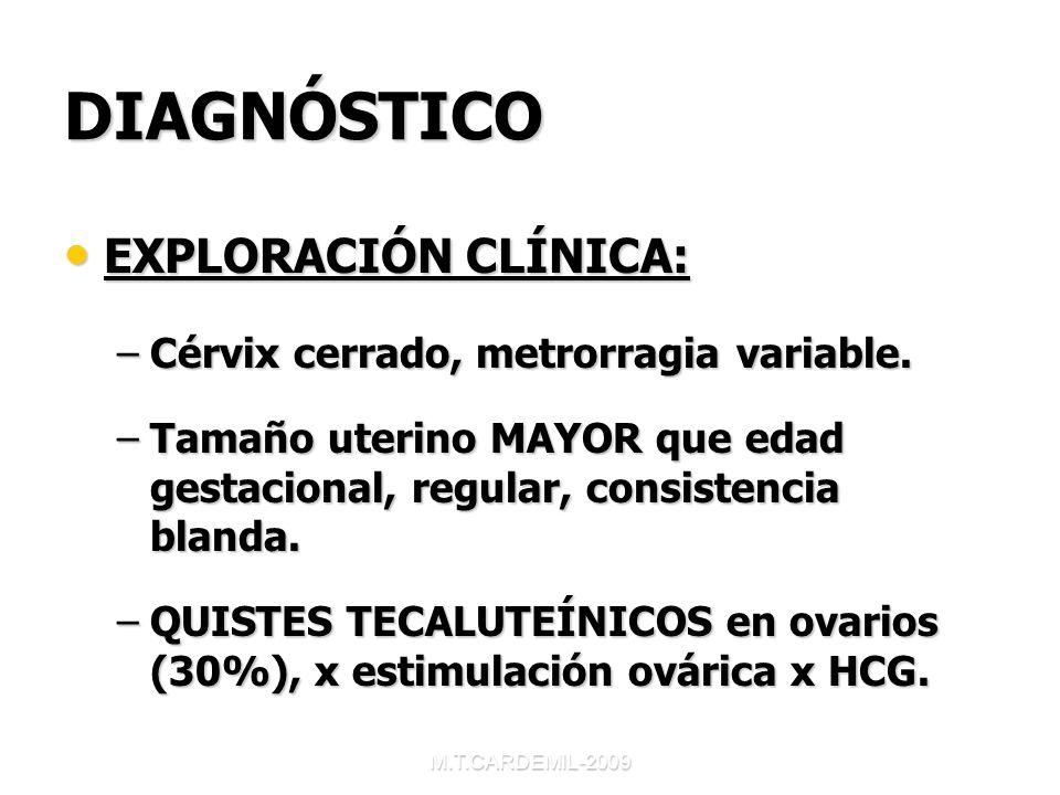 DIAGNÓSTICO EXPLORACIÓN CLÍNICA: Cérvix cerrado, metrorragia variable.