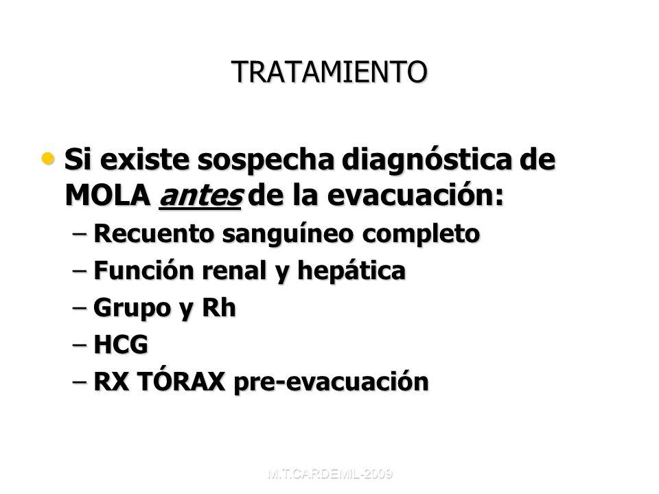 Si existe sospecha diagnóstica de MOLA antes de la evacuación:
