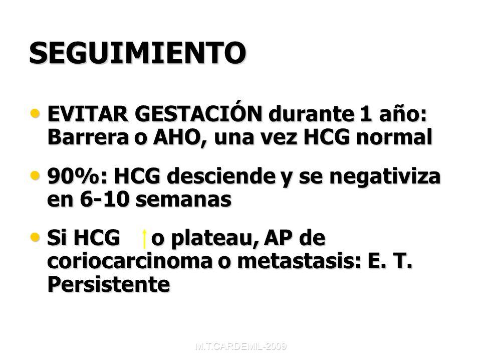 SEGUIMIENTO EVITAR GESTACIÓN durante 1 año: Barrera o AHO, una vez HCG normal. 90%: HCG desciende y se negativiza en 6-10 semanas.