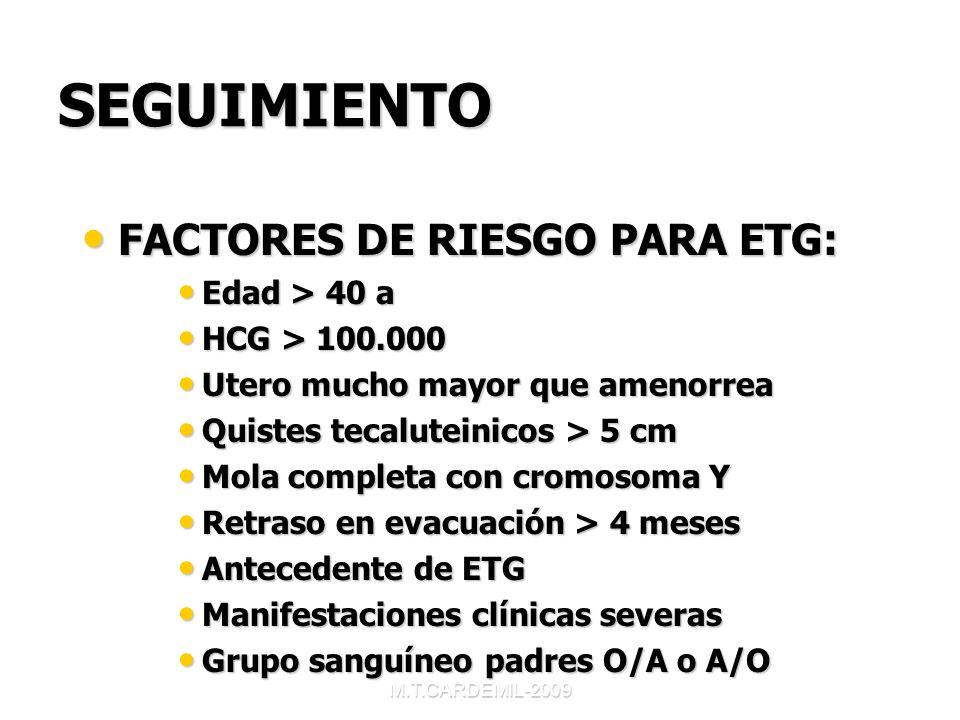 SEGUIMIENTO FACTORES DE RIESGO PARA ETG: Edad > 40 a