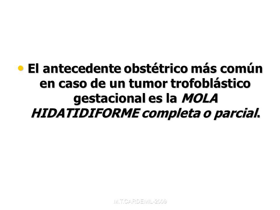 El antecedente obstétrico más común en caso de un tumor trofoblástico gestacional es la MOLA HIDATIDIFORME completa o parcial.