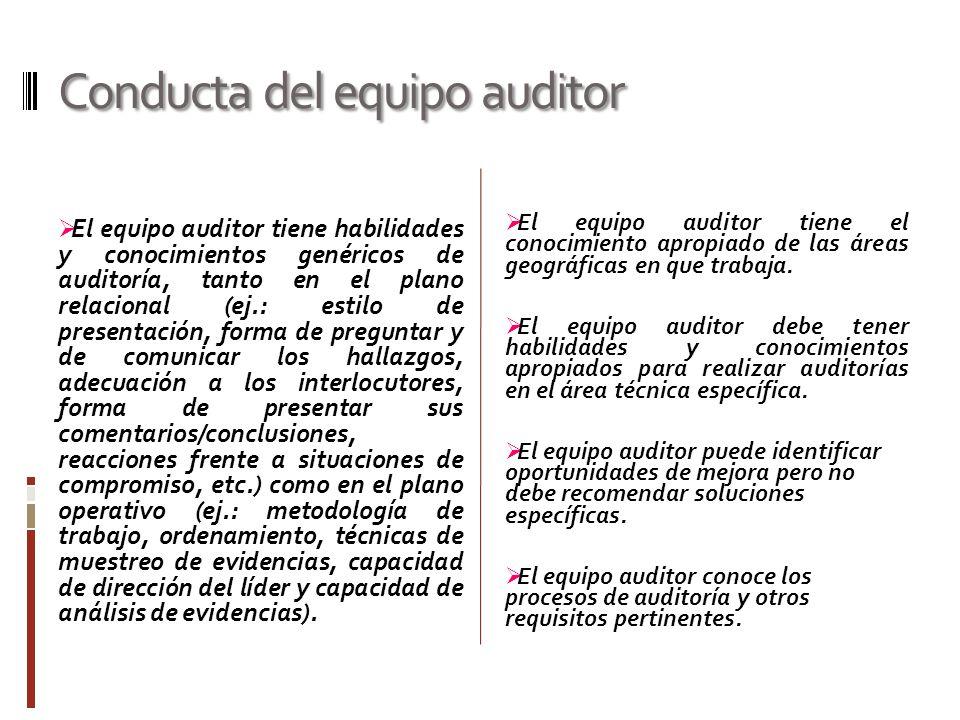 Conducta del equipo auditor