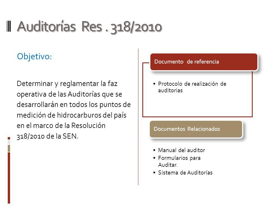 Auditorías Res . 318/2010 Objetivo: