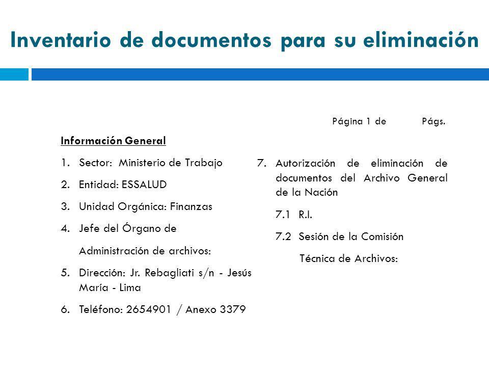 Inventario de documentos para su eliminación