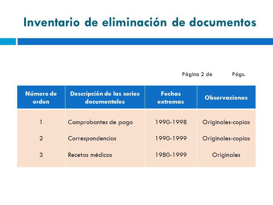 Inventario de eliminación de documentos