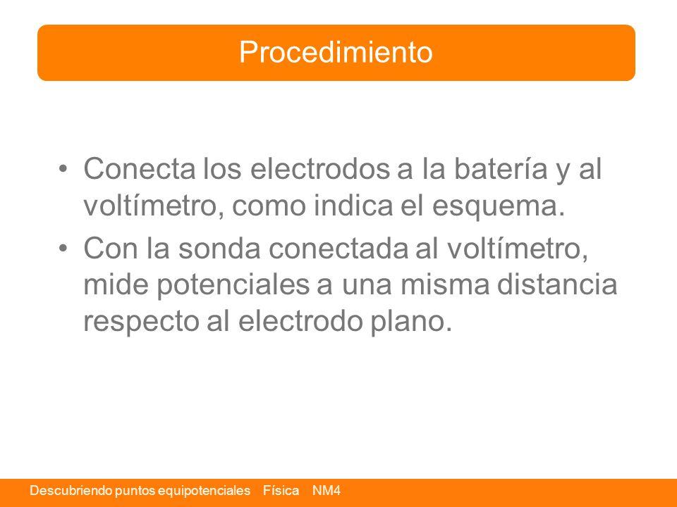 Procedimiento Conecta los electrodos a la batería y al voltímetro, como indica el esquema.