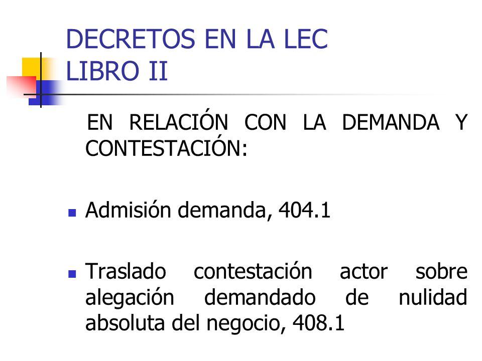 DECRETOS EN LA LEC LIBRO II