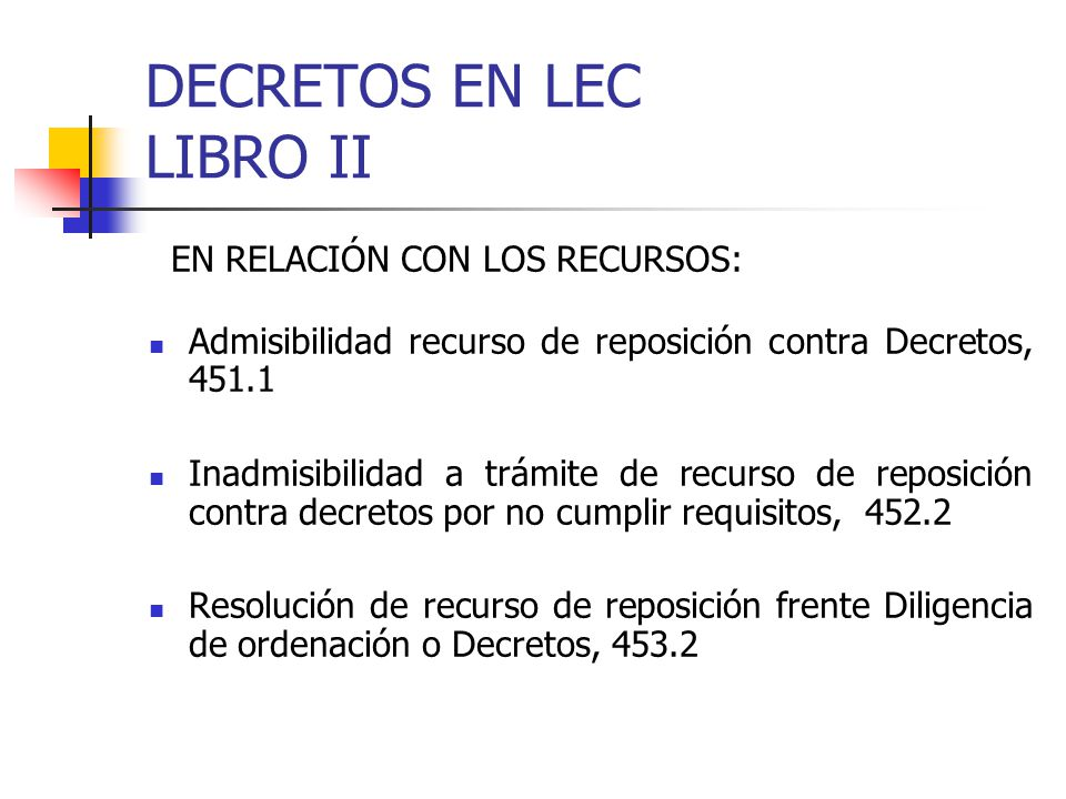 DECRETOS EN LEC LIBRO II