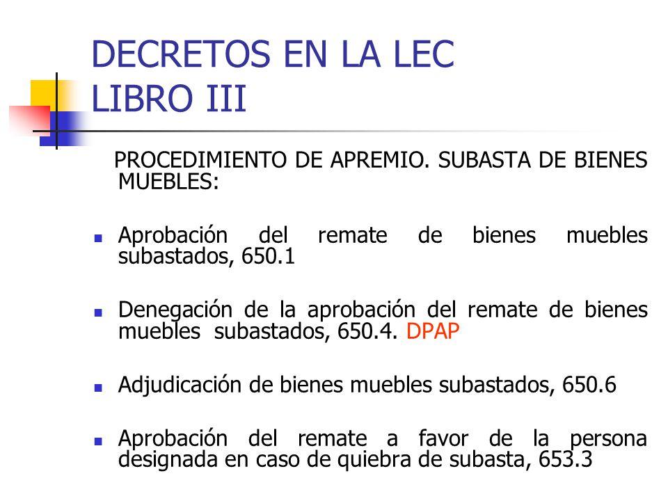 DECRETOS EN LA LEC LIBRO III