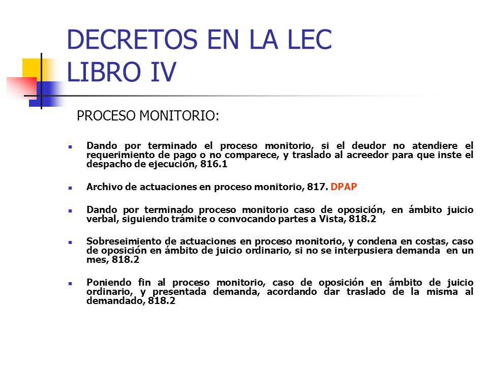 DECRETOS EN LA LEC LIBRO IV