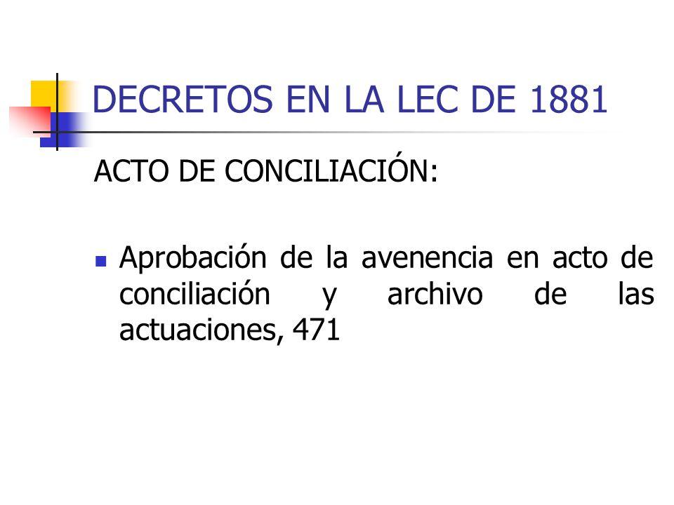 DECRETOS EN LA LEC DE 1881 ACTO DE CONCILIACIÓN: