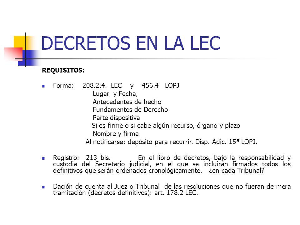 DECRETOS EN LA LEC Forma: 208.2.4. LEC y 456.4 LOPJ Lugar y Fecha,