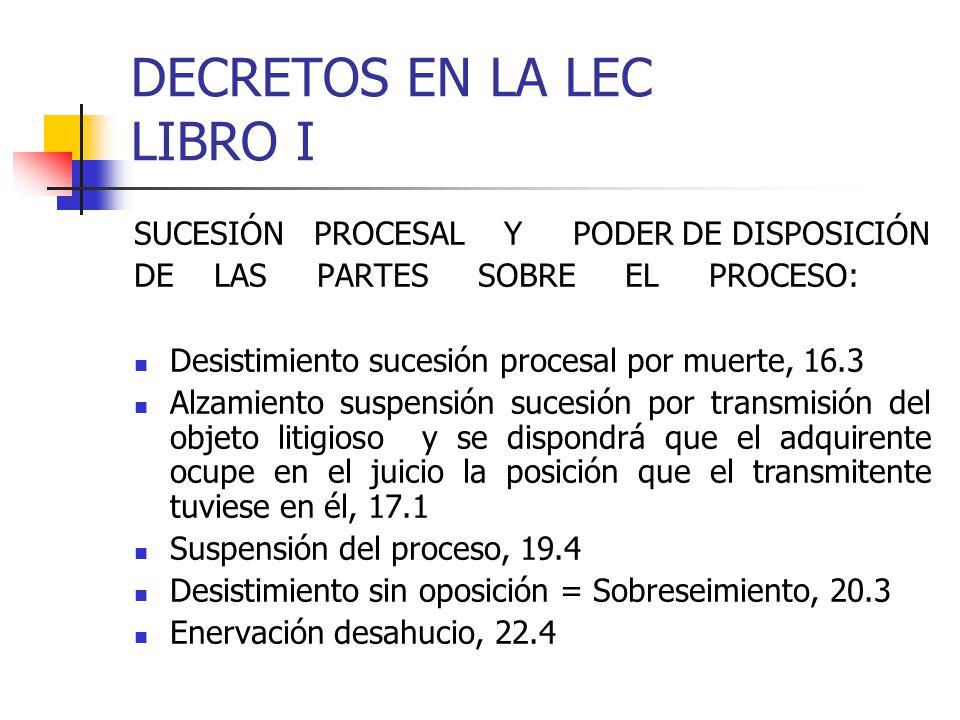 DECRETOS EN LA LEC LIBRO I