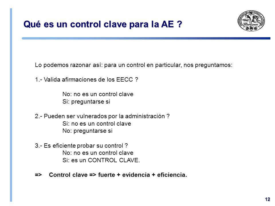 Qué es un control clave para la AE