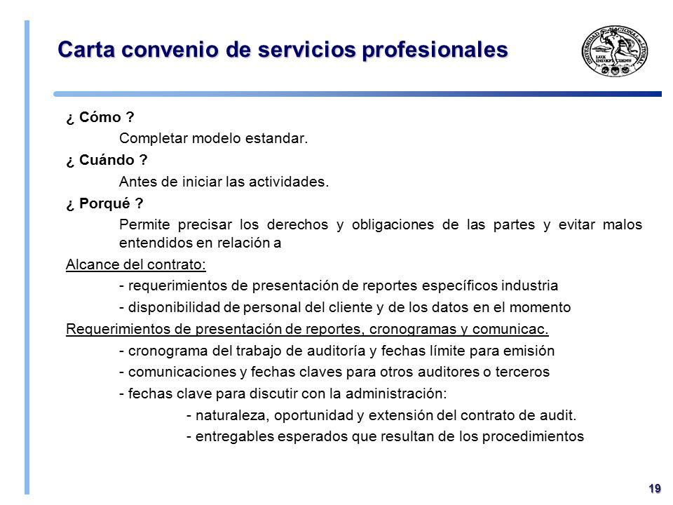 Carta convenio de servicios profesionales