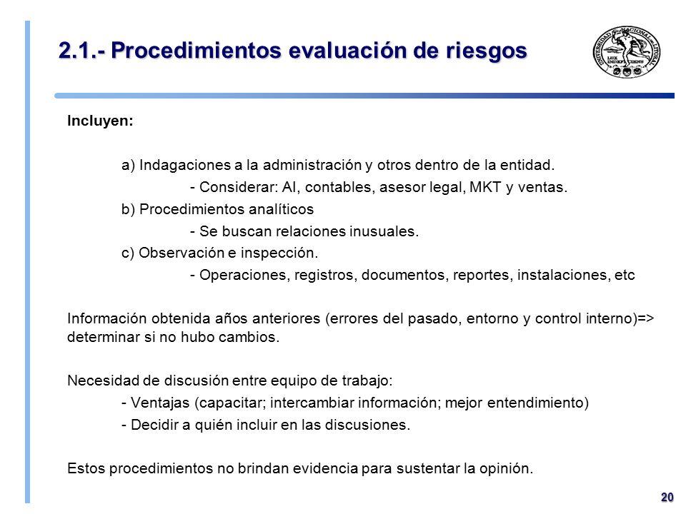 2.1.- Procedimientos evaluación de riesgos