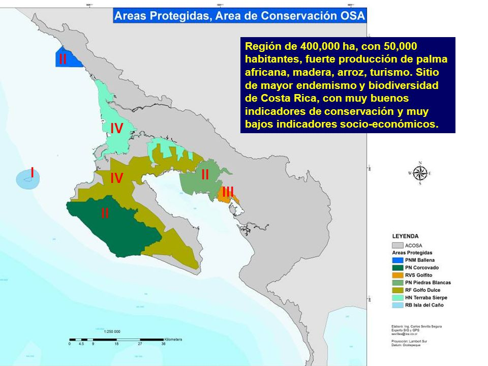 Región de 400,000 ha, con 50,000 habitantes, fuerte producción de palma africana, madera, arroz, turismo. Sitio de mayor endemismo y biodiversidad de Costa Rica, con muy buenos indicadores de conservación y muy bajos indicadores socio-económicos.