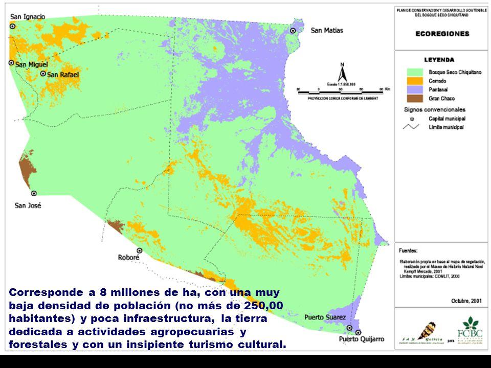 Corresponde a 8 millones de ha, con una muy baja densidad de población (no más de 250,00 habitantes) y poca infraestructura, la tierra dedicada a actividades agropecuarias y forestales y con un insipiente turismo cultural.