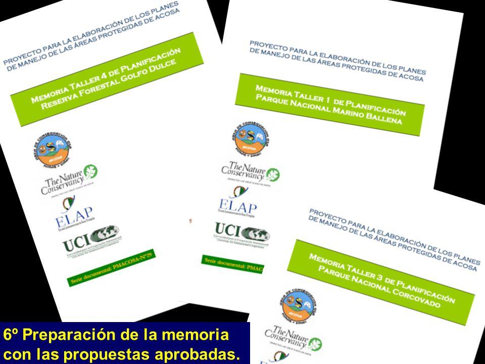 6º Preparación de la memoria con las propuestas aprobadas.