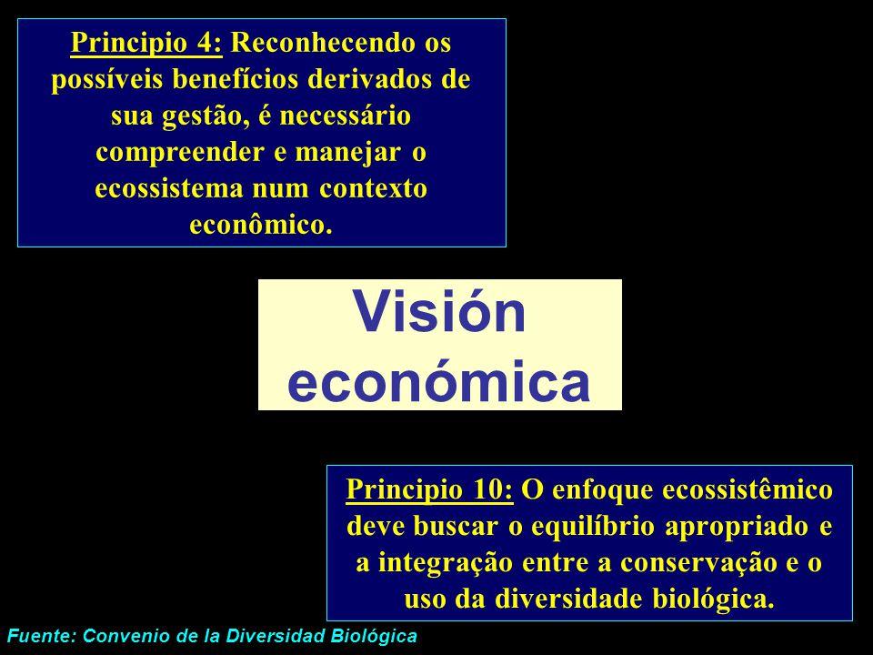 Principio 4: Reconhecendo os possíveis benefícios derivados de sua gestão, é necessário compreender e manejar o ecossistema num contexto econômico.