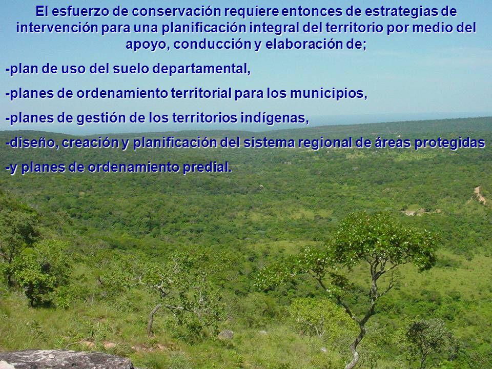 El esfuerzo de conservación requiere entonces de estrategias de intervención para una planificación integral del territorio por medio del apoyo, conducción y elaboración de;