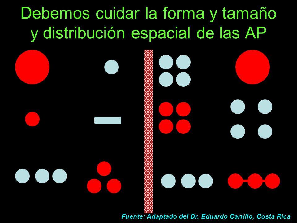 Debemos cuidar la forma y tamaño y distribución espacial de las AP