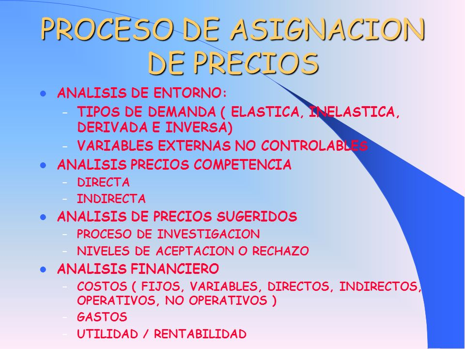 PROCESO DE ASIGNACION DE PRECIOS