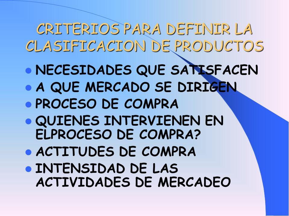 CRITERIOS PARA DEFINIR LA CLASIFICACION DE PRODUCTOS
