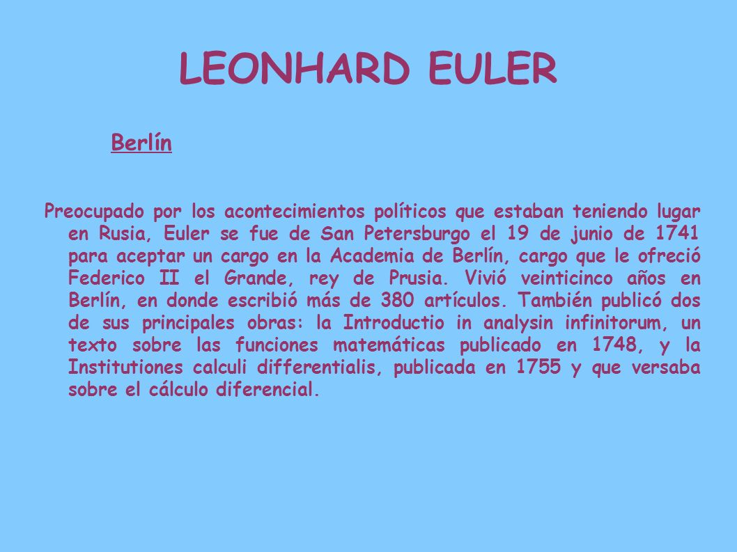 LEONHARD EULERBerlín.