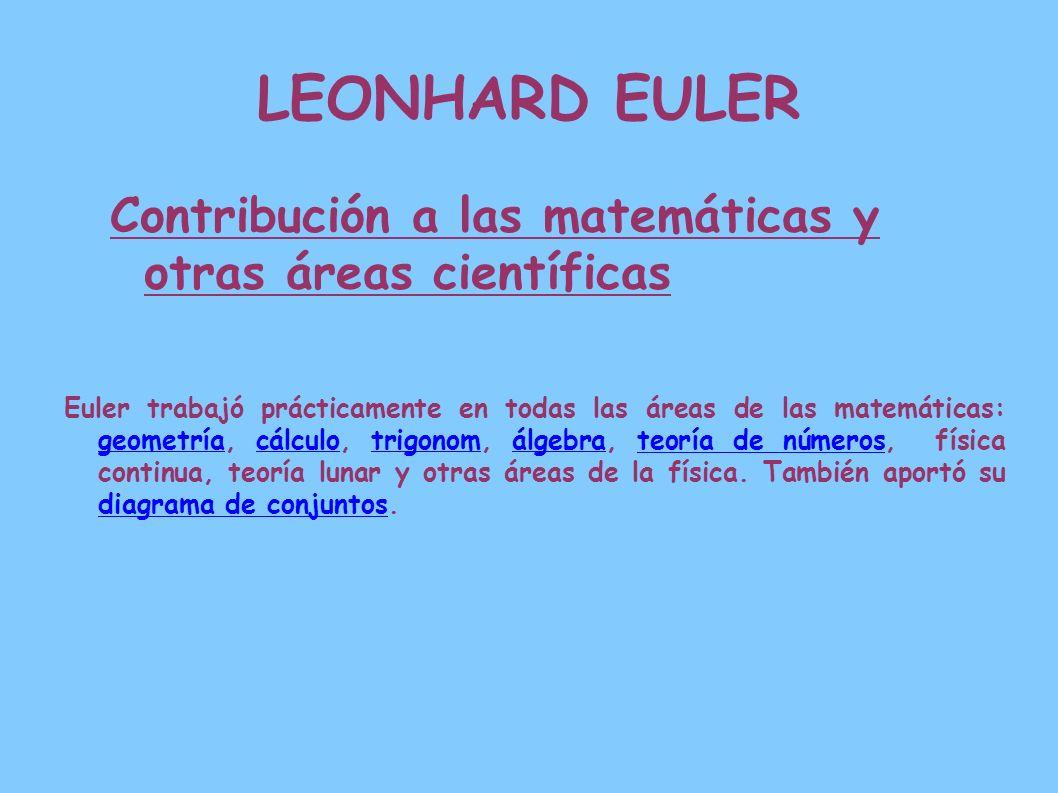 LEONHARD EULER Contribución a las matemáticas y otras áreas científicas.