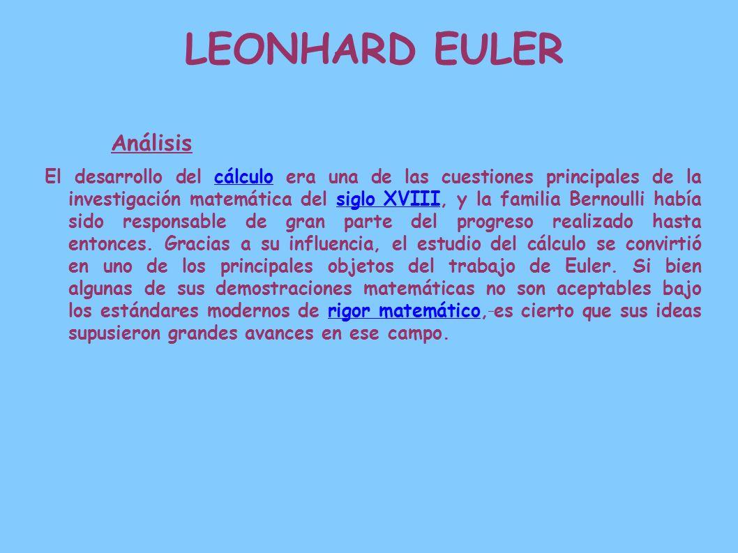 LEONHARD EULER Análisis