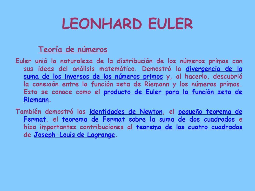LEONHARD EULER Teoría de números