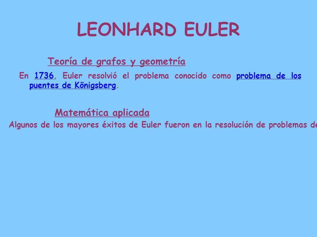 LEONHARD EULER Teoría de grafos y geometría Matemática aplicada