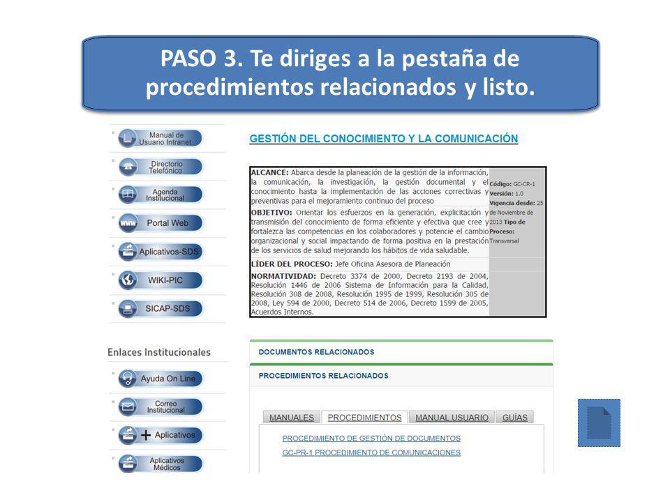PASO 3. Te diriges a la pestaña de procedimientos relacionados y listo.