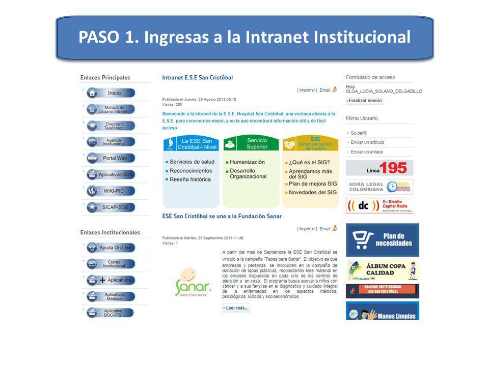 PASO 1. Ingresas a la Intranet Institucional