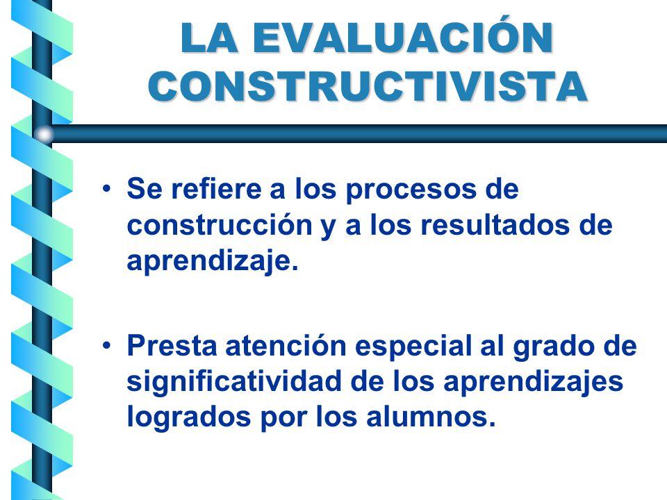 LA EVALUACIÓN CONSTRUCTIVISTA