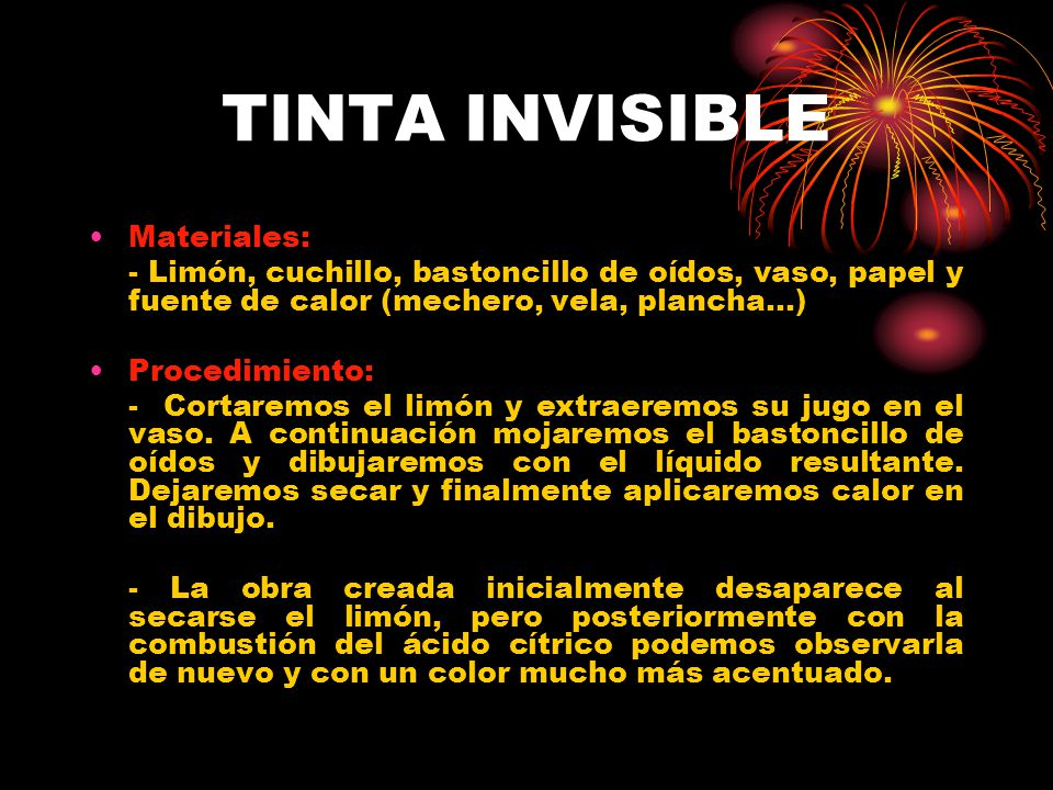 TINTA INVISIBLE Materiales: