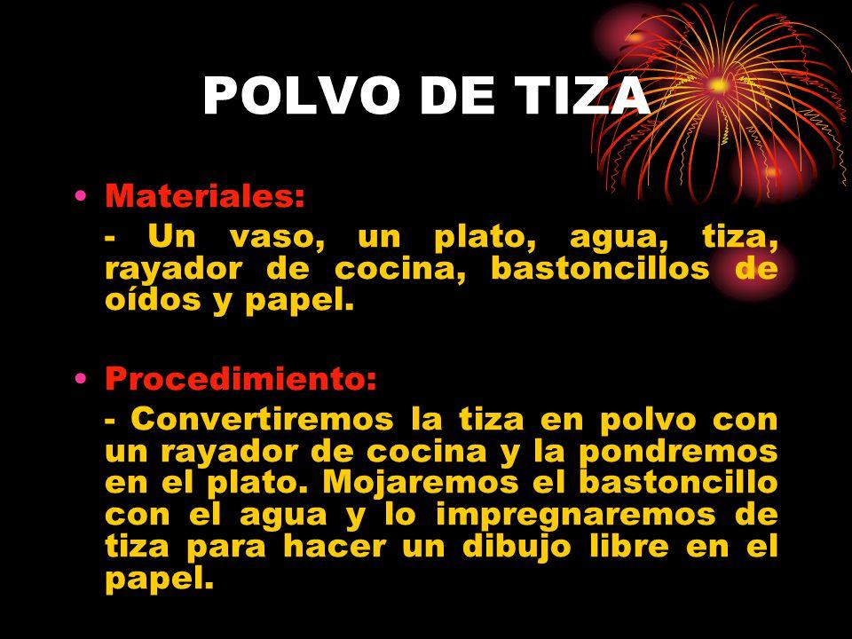 POLVO DE TIZA Materiales: