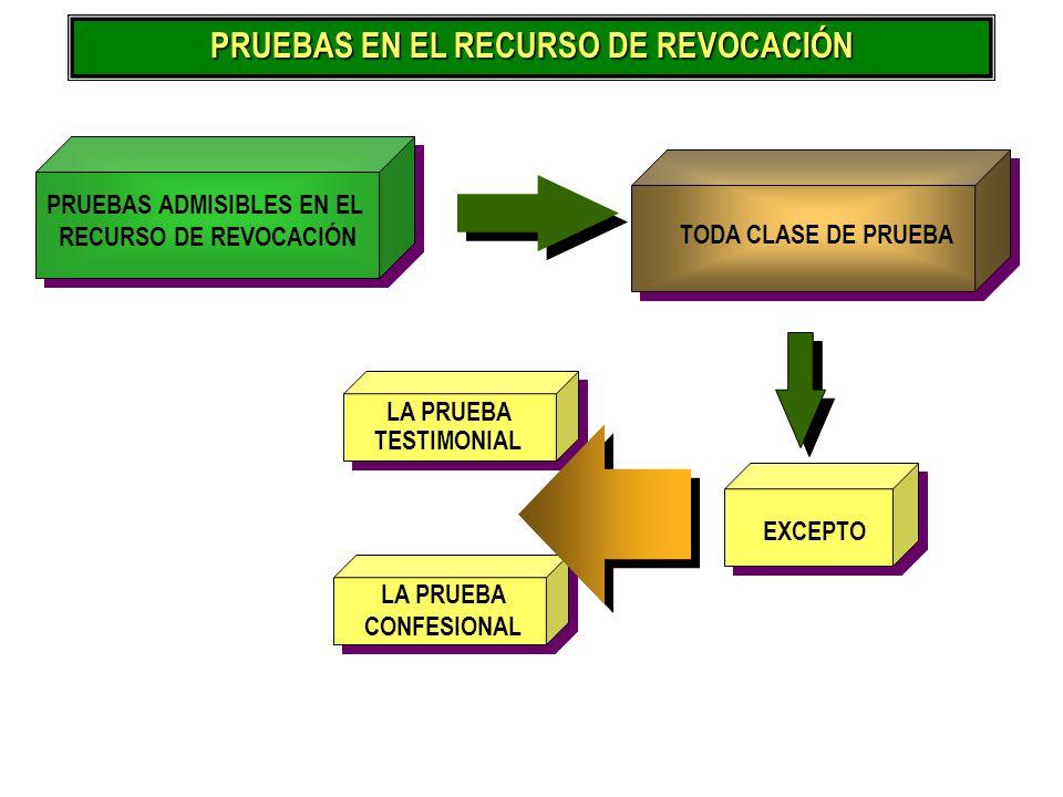 PRUEBAS EN EL RECURSO DE REVOCACIÓN PRUEBAS ADMISIBLES EN EL