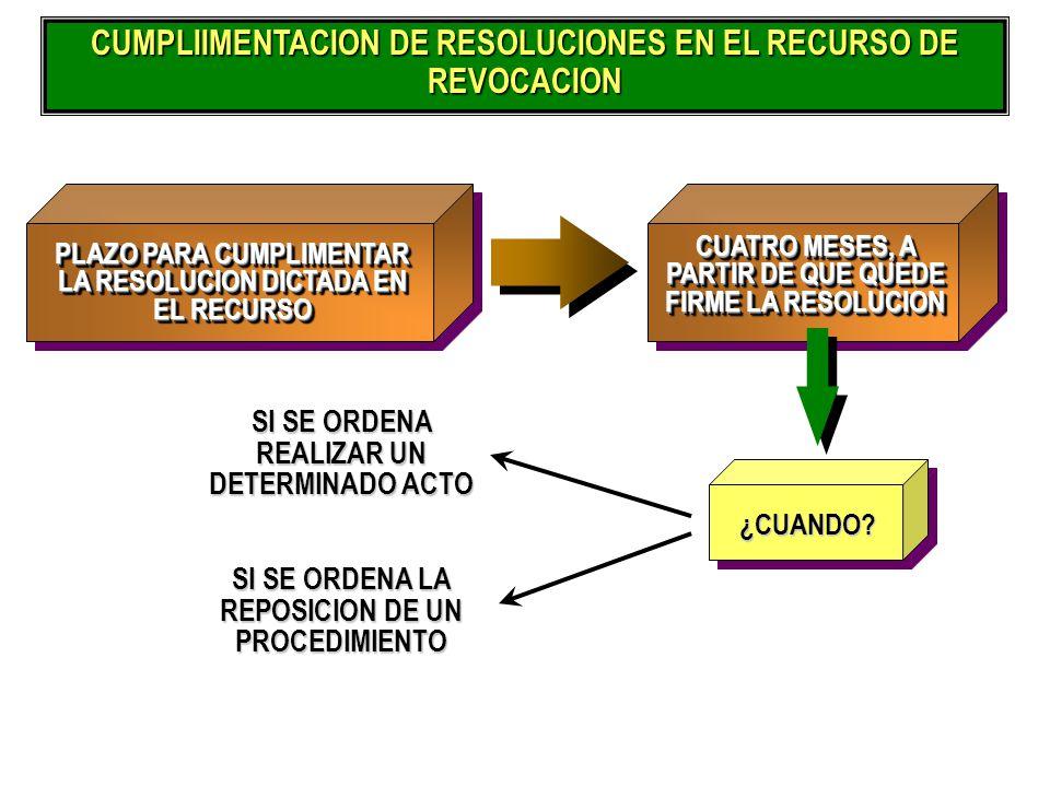 CUMPLIIMENTACION DE RESOLUCIONES EN EL RECURSO DE REVOCACION