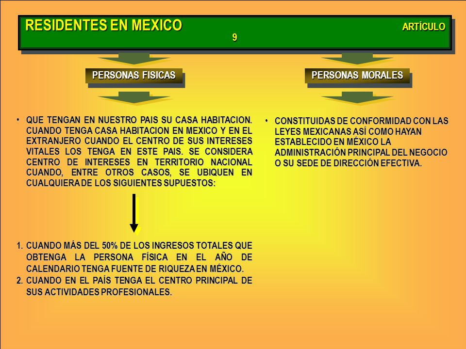 RESIDENTES EN MEXICO ARTÍCULO 9